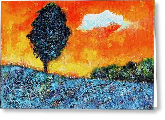 Lonely Tree Orange Sky Greeting Card