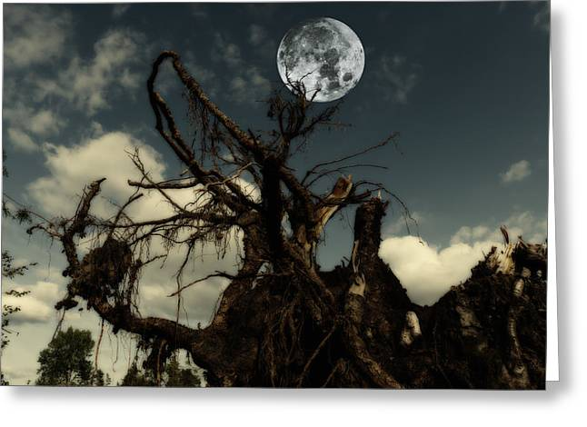 Lonely Tree Roots Reaching For A Full Moon Greeting Card by Christian Lagereek