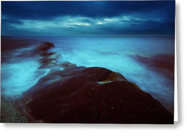 Greeting Card featuring the photograph Lonely Twilight Tide by Afrison Ma