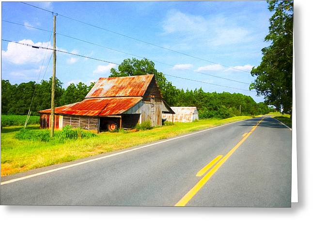 Lonesome Country Roads In The South Greeting Card