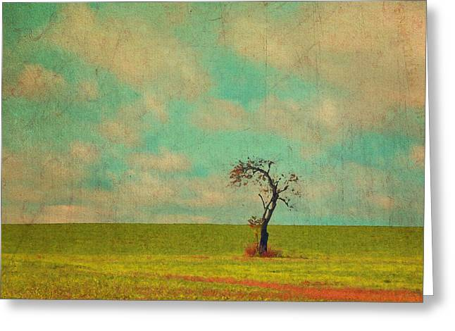 Lonesome Tree In Lime And Orange Field And Aqua Sky Greeting Card by Brooke T Ryan