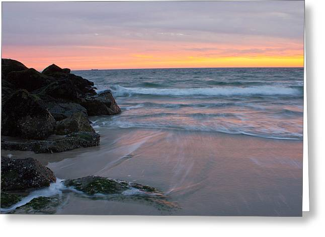 Greeting Card featuring the photograph Long Beach By The Rocks by Jose Oquendo