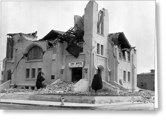Long Beach Earthquake Greeting Card by Underwood Archives
