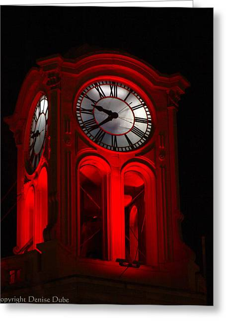 Long Beach Pine Ave. Clock Tower In Red Greeting Card