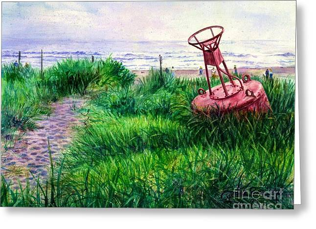 Long Beached Buoy Greeting Card