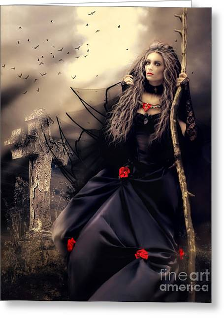 Long Black Veil Greeting Card by Shanina Conway