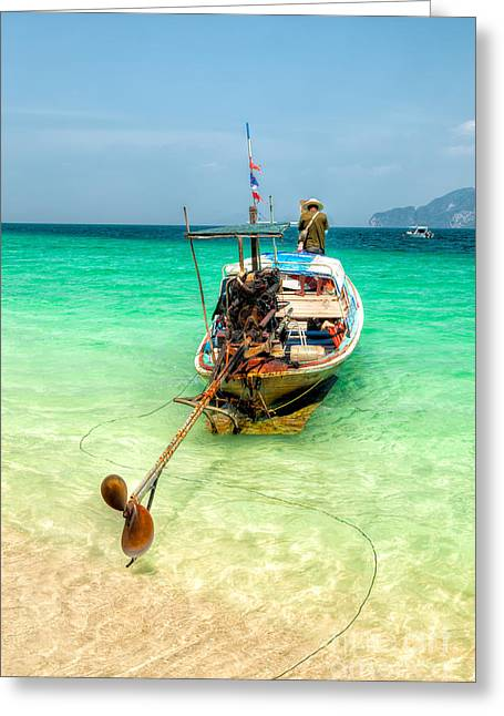Long Boat  Greeting Card by Adrian Evans