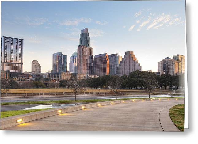 Long Center View Of Downtown Austin Texas Greeting Card