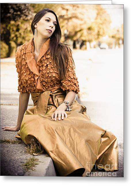 Long Dark Haired Brunette Woman With Brown Eyes Sitting On Pavement With Formal Dress On Greeting Card