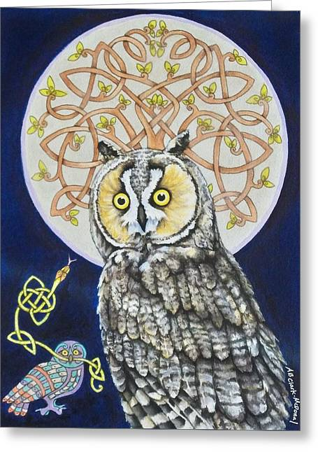 Long Eared Owl Greeting Card by Beth Clark-McDonal