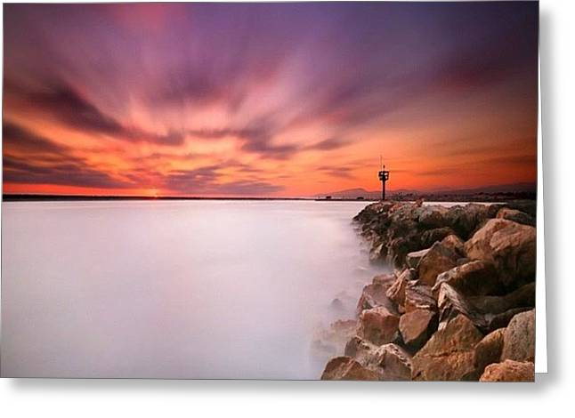 Long Exposure Sunset Shot At A Rock Greeting Card