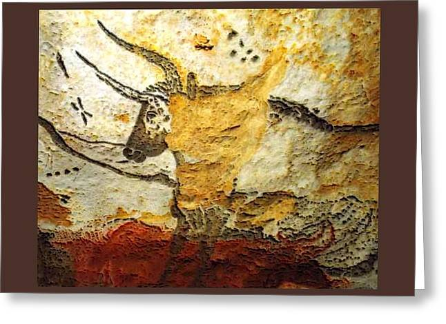 Long Horn Bull Lascaux Cave Upsized Little Enhanced Greeting Card by L Brown