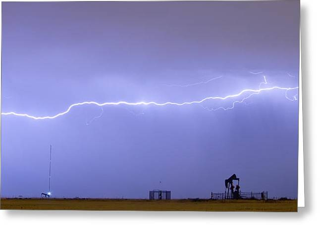 Long Lightning Bolt Strike Across Oil Well Country Sky Greeting Card by James BO  Insogna