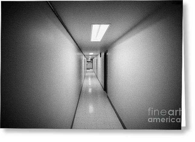 Long Narrow Thin Building Corridor Canada Greeting Card