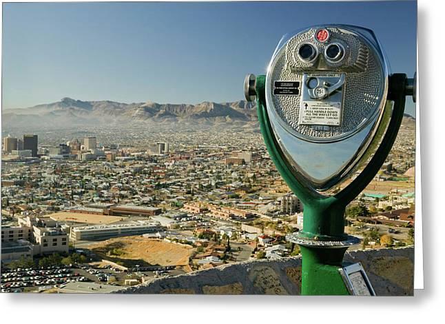 Long Range Binoculars For Tourists Greeting Card