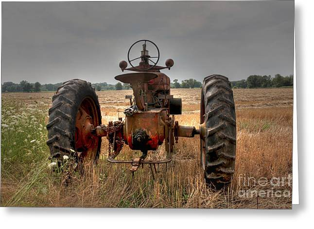 Long Row To Hoe...with My Farmall Greeting Card by David Bearden