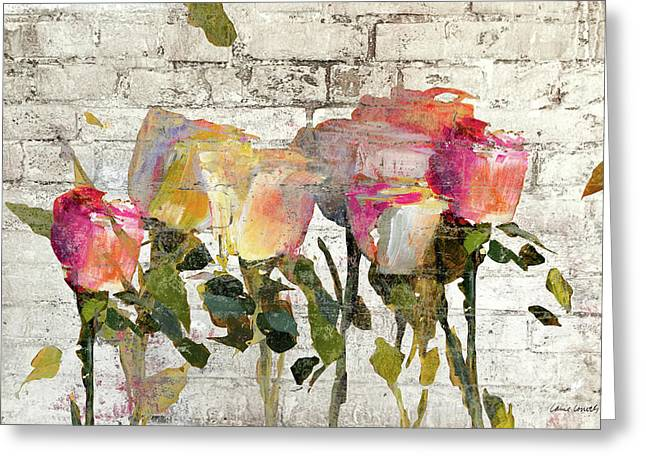 Long Stems On Brick Greeting Card by Lanie Loreth