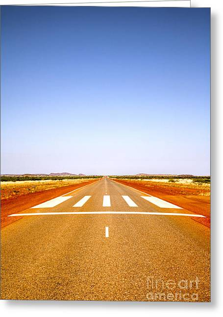 Long Straight Road Marked Out As Emergency Runway Greeting Card