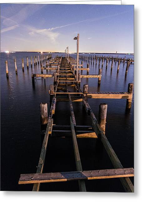 Long Walk On A Broken Pier Greeting Card by Kristopher Schoenleber
