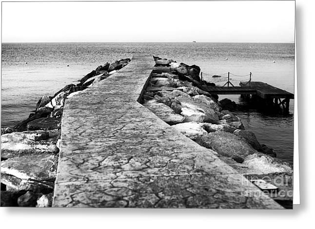 Long Walk To The Sea - Black And White Greeting Card by John Rizzuto
