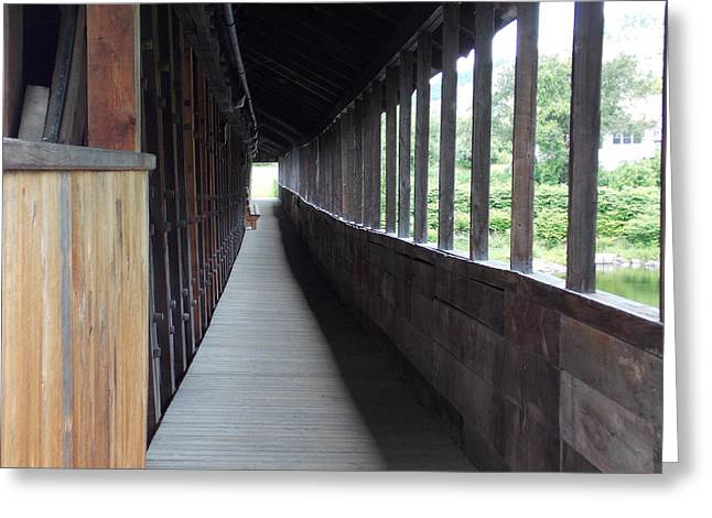 Long Walkway In Covered Bridge Greeting Card by Catherine Gagne