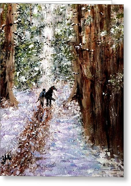 Greeting Card featuring the painting Long Way Home... by Cristina Mihailescu