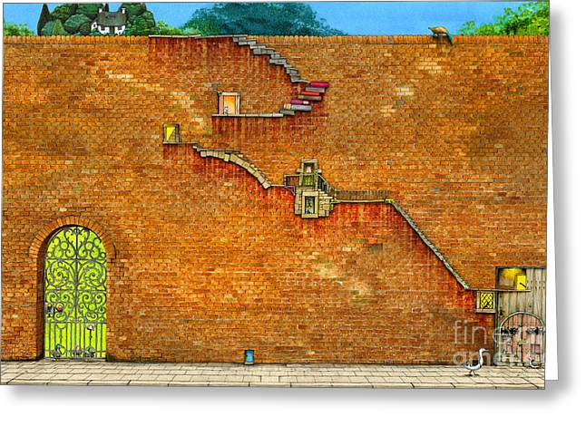 Long Way To The Top Greeting Card by Colin Thompson