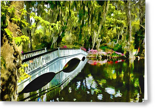 Long White Bridge Faux Painting Greeting Card