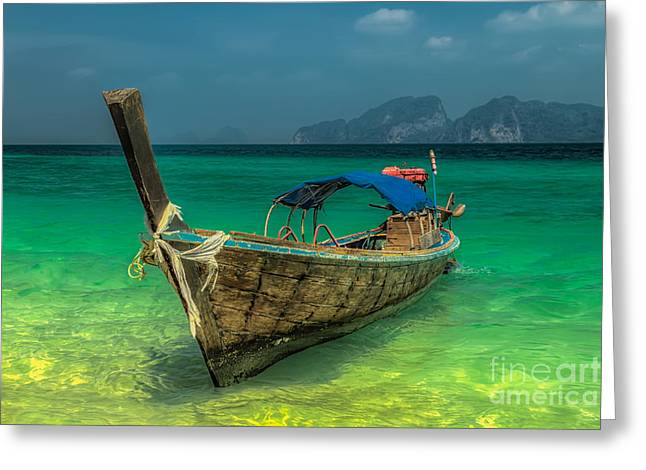 Longboat Greeting Card by Adrian Evans