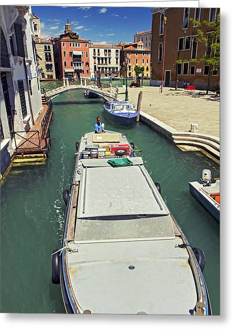 Longboat In Venice Greeting Card by Rick Starbuck
