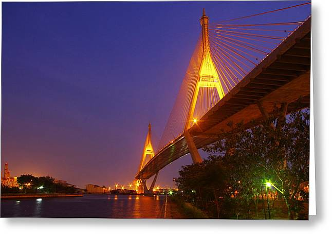Longest Bridge In Bangkok Greeting Card by Panitsak Kunwong