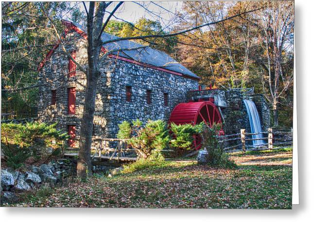 Longfellow's Wayside Inn Grist Mill In Autumn Greeting Card by Jeff Folger