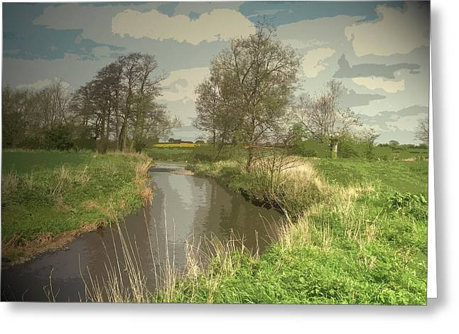 Longford Brook, Looking In The Direction Of Hill Top Farm Greeting Card by Litz Collection