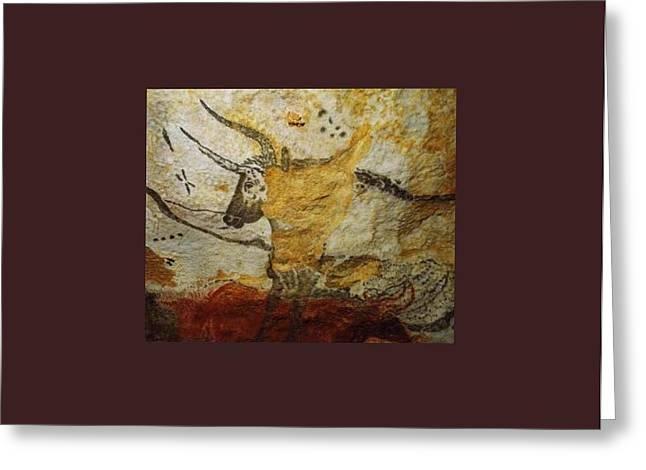 Longhorn Bull Lascaux Cave Se France  Greeting Card
