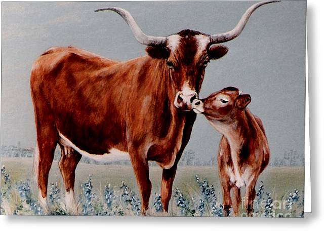 Longhorn Cow And Calf Greeting Card by DiDi Higginbotham