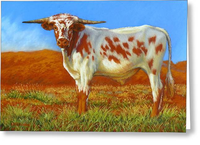 Greeting Card featuring the painting Longhorn In The Australian Outback by Margaret Stockdale