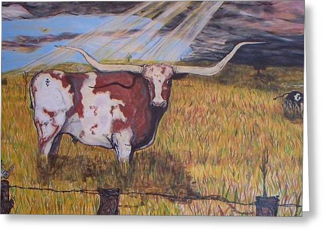 Longhorn Storm Greeting Card by Jose Cabral