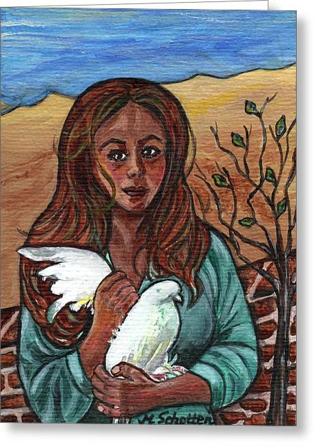 longing for peace - Sehnsucht nach Frieden Greeting Card by Magdalena Schotten