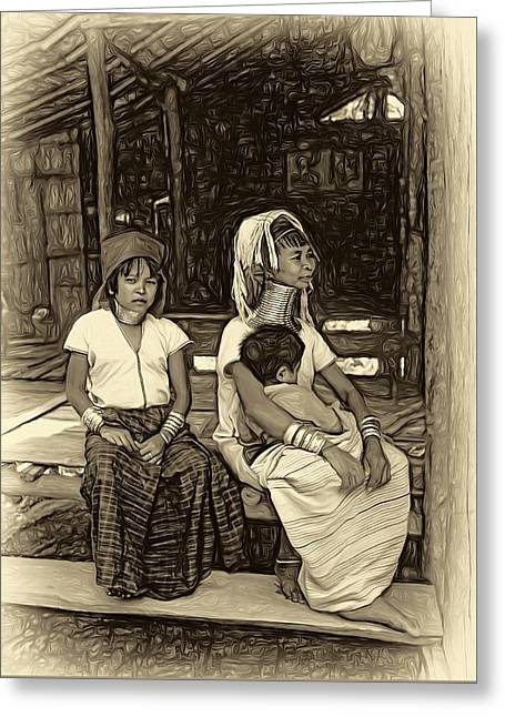 Longneck Beauties - Paint Sepia Greeting Card by Steve Harrington