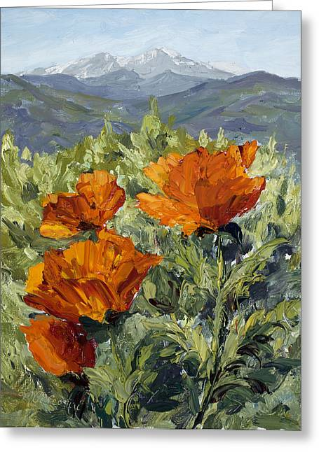 Longs Peak Poppies Greeting Card by Mary Giacomini