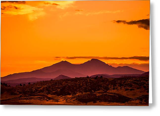 Longs Peak Smoke And Sunset Greeting Card by Rebecca Adams
