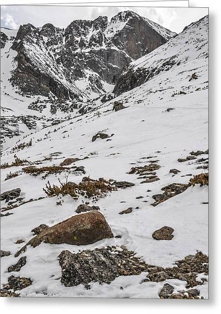 Longs Peak -  Vertical Greeting Card by Aaron Spong
