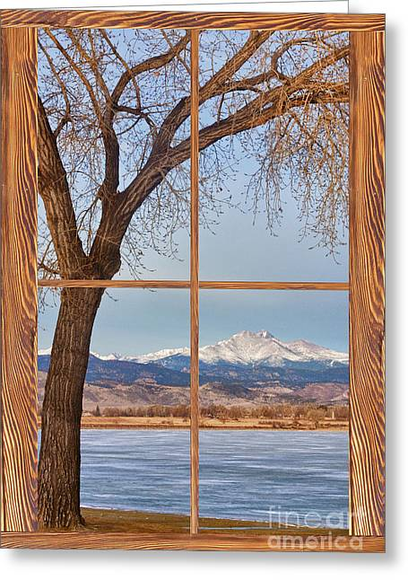 Longs Peak Winter Lake Barn Wood Picture Window View Greeting Card by James BO  Insogna