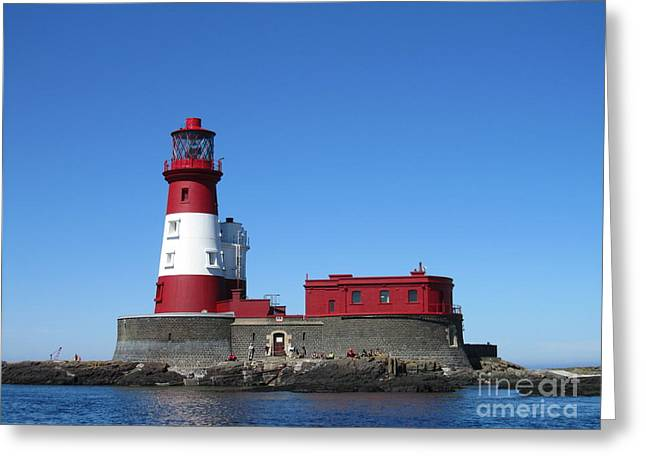 Longstone Lighthouse Greeting Card by David Grant