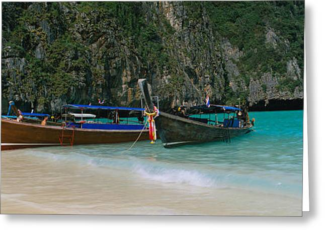 Longtail Boats Moored On The Beach, Ton Greeting Card