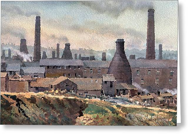 Longton Pot Works Greeting Card by Anthony Forster