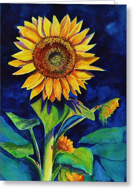 Midnight Sunflower Greeting Card