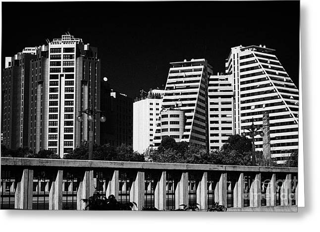 Looking Across Pont Del Regne At Apartment Blocks And Hotels In Downtown Distrito Camins Al Grau Val Greeting Card by Joe Fox