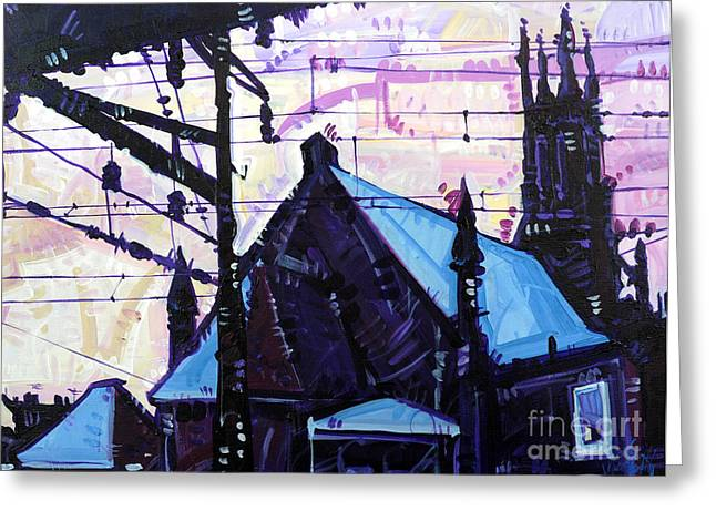 Greeting Card featuring the painting Looking At Saint Peters by Michael Ciccotello
