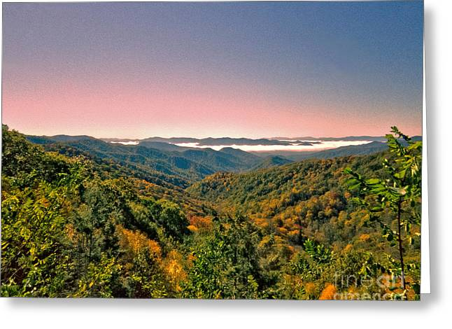 Looking At The Valley Of Fog Greeting Card